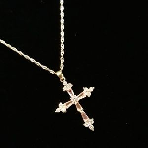 """Jewelry - Iced Out Cross - Pink & 28"""" chain"""